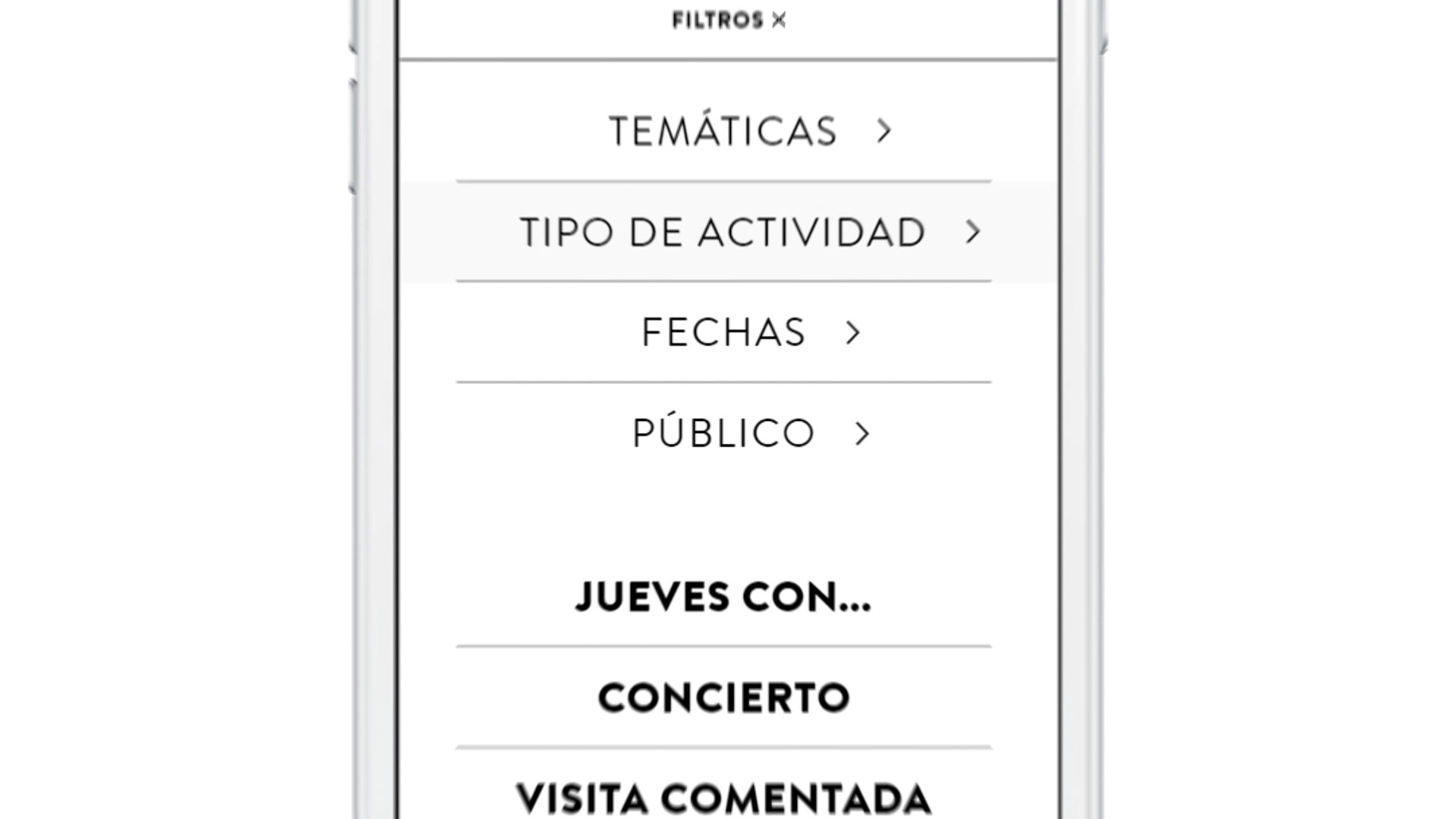 CaixaForum's mobile website search filters